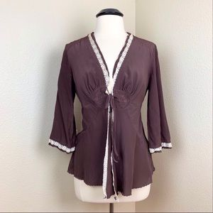 Burning Torch Silk Cardigan Jacket Brown Large